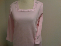 SQUARE NECK T-SHIRT 3/4 SLEEVE CUSTOMED DESIGNED WITH BUTTERFLIES