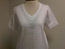 V-NECK T-SHIRT SHORT SLEEVE WITH SILVER TRIM